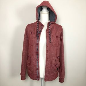 Cotton on red  button up hoodie with drawstring